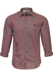 Camisa Made In Mato Masculina Xadrez Vermelho E Cinza