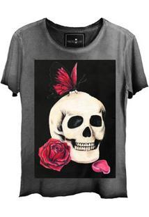 Camiseta Estonada Corte A Fio Skull