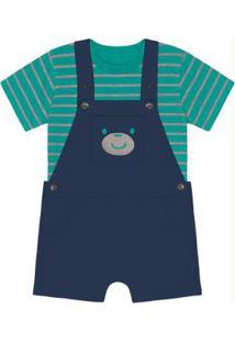 Conjunto Camiseta Com Jardineira Trick Nick Azul