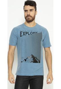 """Camiseta """" Explore"""" - Azul & Pretaindividual"""