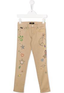 Ralph Lauren Kids Embroidered Doodle Chinos - Neutro