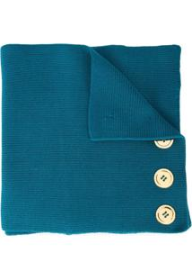 0711 Cachecol Com Aplicação De Botões - Azul