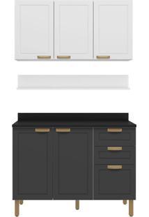 Cozinha Modulada 4 Peças Com Tampo E Nevada 5918Tp-Multimóveis - Branco Premium / Grafite Premium