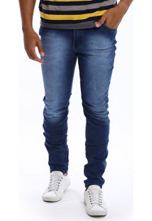 Calça Jeans Bamborra Denim Slim Manchada Azul 9edb4096d5f