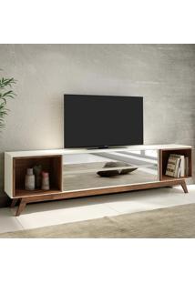 Rack Para Tv 2 Gavetas Espelhadas 220 Cm R422 Wn Off White/Nobre - Dalla Costa