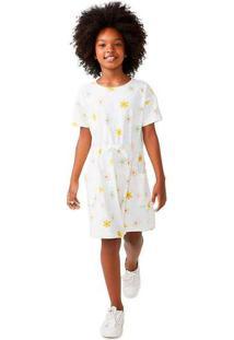 Vestido Infantil Menina Manga Curta Branco