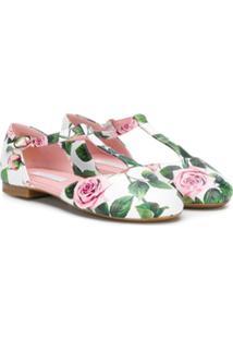 Dolce & Gabbana Kids Sapatilha Com Estampa De Rosas - Branco