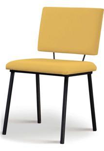 Cadeira Antonella Aço Preto Assento/Encosto Estofado Linho Amarelo Daf