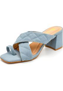 Sandália Tamanco Feminina Salto Baixo Retro Confort Azul
