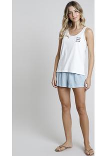 "Pijama Regata Feminino ""Dream"" Off White"