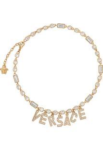 Versace Colar Com Pingente De Logo - Dourado