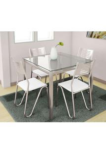 Conjunto De Mesa Com 4 Cadeiras Branco Reno Com Nápolis Kappesberg