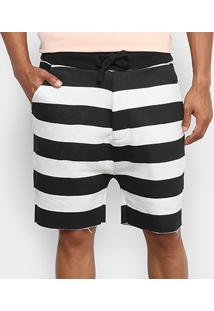 Bermuda Osklen Casual Listrada Moletom Masculina - Masculino-Off White+Preto