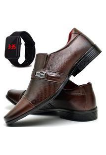 Sapato Social Masculino Db Now Com Relógio Led Dubuy 710Od Marrom