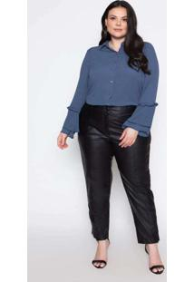 Camisa Almaria Plus Size Pianeta Detalhe Babado Az