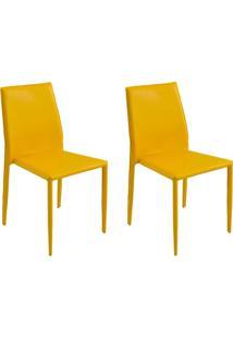 Kit 2 Cadeiras Decorativas Sala E Cozinha Karma Pvc Amarela - Gran Belo - Amarelo - Dafiti