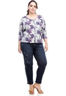 Camisa Morcego Melinde Plus Size Feminina - Feminino-Lilás