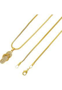 Gargantilha Chinelo Tudo Jóias Folheado A Ouro 18K Dourada