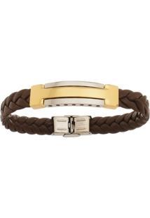 Bracelete De Aço Inox Tudo Joias Gold Com 12Mm De Largura - Unissex