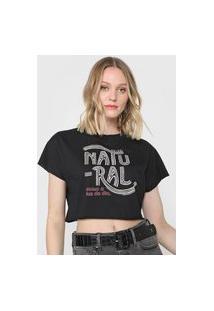 Camiseta Cropped Colcci Natural Como A Luz Do Dia Preta
