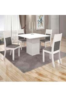 Conjunto De Mesa De Jantar Napoli Com 4 Cadeiras Havaí Linho Branco E Cinza