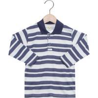 Camisa Polo Have Fun Listras Infantil Azul Cinza 7e14b49435b9f