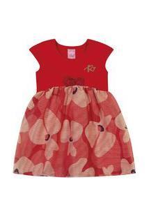 Vestido Com Tule Kinha Em Cotton Alto Veráo Vermelho