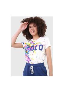 Camiseta Polo Ralph Lauren Paint Splatter Branca/Rosa