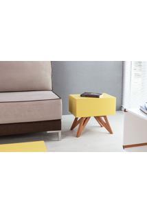Mesa De Canto - Mesa Lateral Sofá Colorida Amarela Design Moderno E Retrô Freddie - 46,6X34,1X45,2 Cm