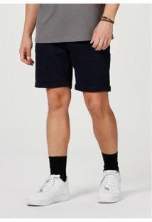 Bermuda Sarja Masculina Slim Com Amarração - Masculino-Marinho