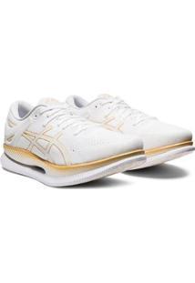 Tênis Asics Metaride Masculino - Masculino-Branco+Dourado
