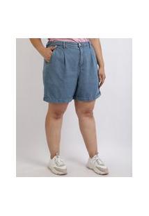 Bermuda Jeans Feminina Mindset Plus Size Com Pregas Cintura Alta Azul