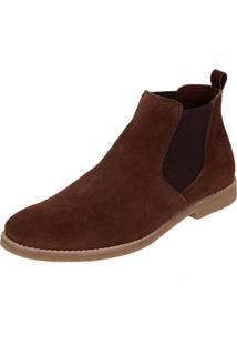Bota Chelsea Camurça Escrete Boots Fechamento Em Elástico Café