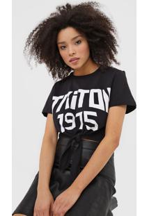 Camiseta Triton Amarraã§Ã£O Preta - Preto - Feminino - Algodã£O - Dafiti