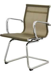 Cadeira Sevilha Eames Fixa Cromada Tela Dourada - 38072 - Sun House