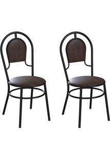 Conjunto Com 2 Cadeiras Hobart Tabaco E Preto
