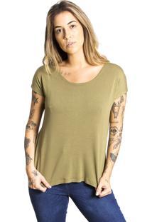 Camiseta Bã¡Sica Le Julie Verde Militar - Verde - Feminino - Viscose - Dafiti