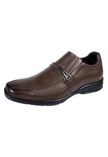 Sapato Social Ortopedico Hype Couro Bico Quadrado Palmilha Gel Confort Marrom