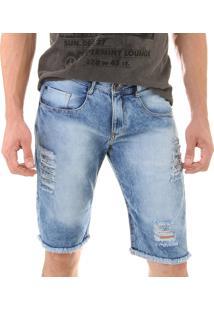 Bermuda Jeans Opera Rock Rasgos E Puidos Oprk Azul