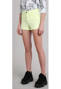 Short De Sarja Feminino Hot Pant Cintura Alta Amarelo Neon