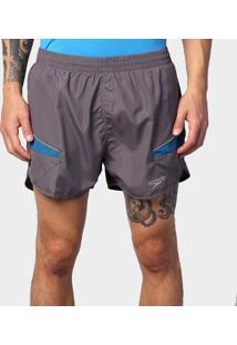 Shorts Masculino Running Laser Cinza/Azul Escuro Gg - Speedo