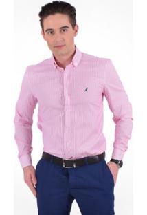 6d22ad52d7 Camisa Social Listrada Masculina - Slim - Masculino-Rosa