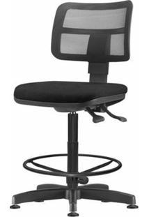 Cadeira Zip Tela Assento Courino Preto Base Caixa Fixa Metalica - 54422 - Sun House