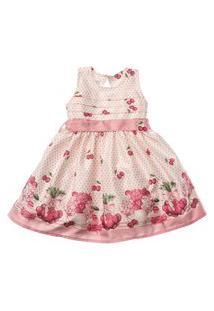 Vestido Infantil De Cetim Estampado Poá Com Cerejinha - Anjos Baby Chic Rosa