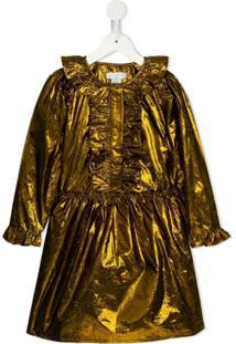Stella Mccartney Kids Vestido Metalizado Com Babados - Dourado