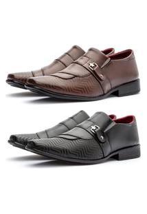 2 Pares Sapato Social Fashion Masculino Calçados D'Mais Preto E Marrom