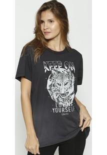 "Camiseta ""Lobos"" - Preta & Branca - Colccicolcci"