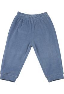 Calça Ano Zero Bebê Plush Liso Azul