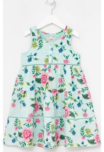 Vestido Infantil Floral Com Detalhes Em Bordado - Tam 5 A 14 Anos