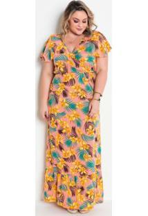 Vestido Transpassado Com Babado Floral Plus Size